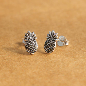 Sterling Silver Pineapple Stud Earrings - Silver Pineapple Post Earrings - Silver Pineapple Jewelry - Tiny Stud Earrings - Gift for her