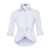 Ultra Stretchy Twist Front 3/4 Sleeve Collared Button Down Shirt Top (CLEARANCE)