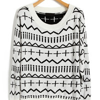 Knitted Jumper with Contrast Multi Marks Print