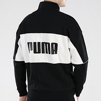PUMA Fashion New Letter Print Women Men  Long Sleeve Coat