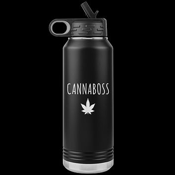 Cannaboss Weed Leaf Cannabis Gifts Marijuana Grower Dispensary Owner Water Bottle Insulated Tumbler 32oz BPA Free
