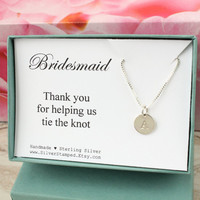 Thank you gift for Bridesmaid gift personalized sterling silver initial necklace, gift box, Thank you for helping us tie the knot