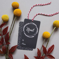 Chalkboard Wreath Holiday Gift Tags