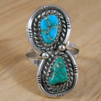 Turquoise Ring / Vintage Mod Style Silver and Blue Turquoise Ornate Ring / Indian Ring Size 8