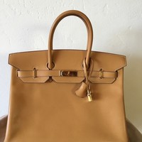 Authentic hermes Birkin 35 Vache Naturelle Gold Hardware/Barenia