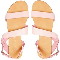 New Look Hana Wide Fit Pink Leather Strap Flat Sandals