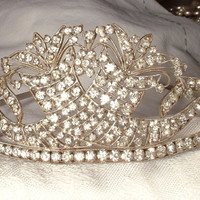 1920s Authentic Art Deco Bridal Headband Headpiece Rhinestone Gatsby Flapper Era Silver Wedding Head Band Tiara Crown Downton Abbey Antique