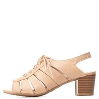 Bamboo Cut-Out Low Heel Lace-Up Sandals