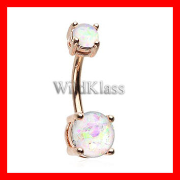 Rose Gold 14g Navel Ring White Opal Sparkle Prong Set Belly Button Ring Opalite Navel Jewelry Navel Belly Button Jewelry Belly Piercing