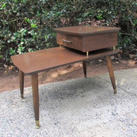 Mid Century Modern Nightstand, Vintage Side Table, Two Tier End Table