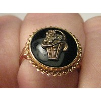 Vintage 10kt  Onyx Basket Ring, Victorian Themed, Size 6.
