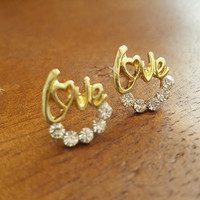 Dainty earrings antique gold plated love word stud earrings vintage antique gold plated jewelry gift
