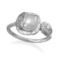 Oxidized 8mm Cultured Freshwater Pearl Ring