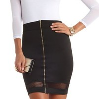 Mesh Cut-Out Bodycon Pencil Skirt by Charlotte Russe - Black