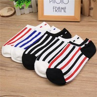 Men Cotton Summer Stripes Anti-skid Socks 5 pair/set [47760736268]