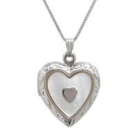 Sterling Silver Mother-of-Pearl Heart Locket (Grey)