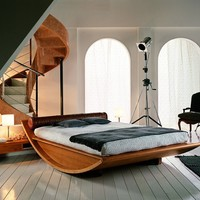 Wooden Gondola Bed by Mazzali