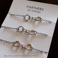 Matching best friends bracelets - Set of 3 Silver tone Handcuffs Bracelets Partners in Crime bracelet  BFF jewelry, Rhodium plated