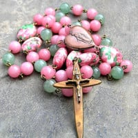 Vintage Crucifix Rosary with Pink & Green Gemstone Prayer Beads