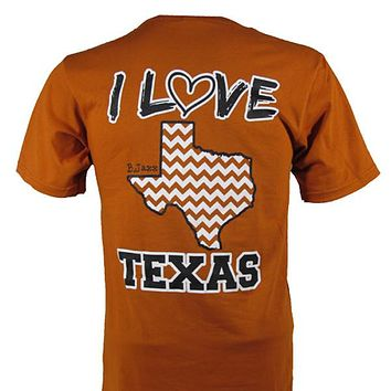 Bjaxx I Love Texas Orange Chevron State Southern Girlie Bright T Shirt