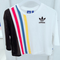 """Adidas""Female Colored bars Hollow Mesh Splice Leisure Short T-Shirts"