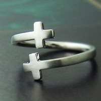 Sideway Double Cross Knuckle Ring Simple Adjustable Ring Jewelry gift idea