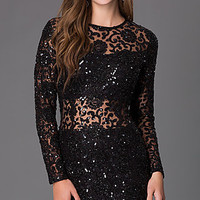 High Neck Long Sleeve Homecoming Dress by Primavera
