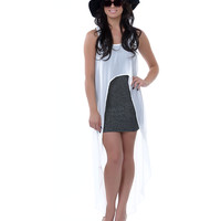 Grey & White Layered Spingly Spangly High-Low Dress