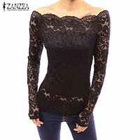 *ONLINE EXCLUSIVE* Off the shoulder Lace Long Sleeve Top