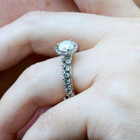 Octopus tentacle Ring 14k white gold engagement ring with 1.1 tctw of diamonds adjustable ring by Zulasurfing