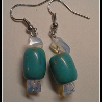 Dyed Howlite Drop Earrings in Turquoise Blue.