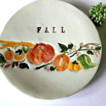 Fall Ceramic Dish Pumpkins Pottery Small Plate Autumn Leaves and Letters