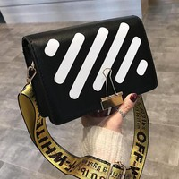 OFF WHITE New Trending Women Crossbody Satchel Shoulder Bag Black