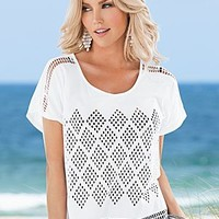White (WH) Cut Out Design Tee