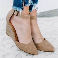 Taupe Ankle Strap Pointed Wedge