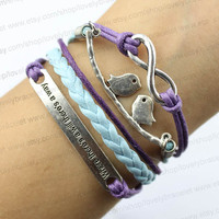 Infinite charm, bird charm, where there is a will there is a way charm bracelet, purple wax, wax rope and light blue rope bracelet, gifts