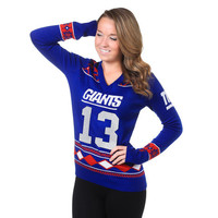 New York Giants Odell Beckham Jr. V-Neck Glitter Sweater by Klew (Will Ship Middle Of November)