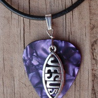 Leather Jesus Fish Guitar Pick Necklace - Your Choice of Color