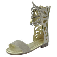 Kids Flat Sandals Mid Calf Cutout Gladiator Girls Lace Up Shoes Taupe SZ
