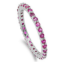 Sterling Silver Ruby CZ Eternity Ring