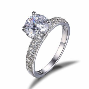 Euphoria High Mount Cathedral Cubic Zirconia and Pavé Solitaire Ring