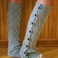 Grey Lace Button Up Leg Warmers
