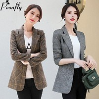 PEONFLY Vintage Office Lady Notched Collar Plaid Women Blazer Single Button Autumn Jacket 2021 Casual Pockets Female Suits Coat