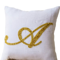 Decorative pillow- Customized monogram pillow -Gold Sequin Monogram Throw pillows - white linen pillow cover -14x14 gift -Cursive Initial