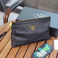 PRADA MEN'S HOT STYLE LEATHER ZIPPER HAND BAG