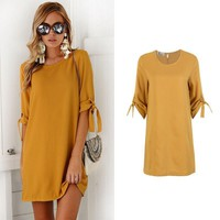 Women Bowknot Mini Bodycon Dress Tops Casual Loose Long Cocktail Solid Straight Dress Sundress Outfits Clubwear Clothes Vestido