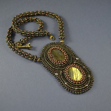 Strong Aurora Necklace Beadwork, bead embroidery