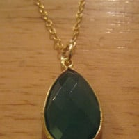Studio Silver~18K Gold Sterling Silver~Green Agate Oval Pendant Necklace~$120