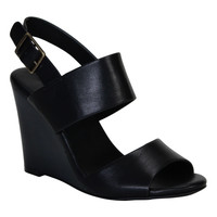 """""""Whimsical"""" Double Strap Wooden Wedge Sandals - Black"""