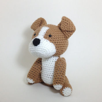 Pit Bull Large Stuffed Animal American Stafford Terrier Amigurumi Dog Handmade Crochet Puppy Plush Doll / Made to Order